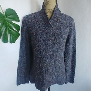 Coldwater Creek Blue Waffle Sweater